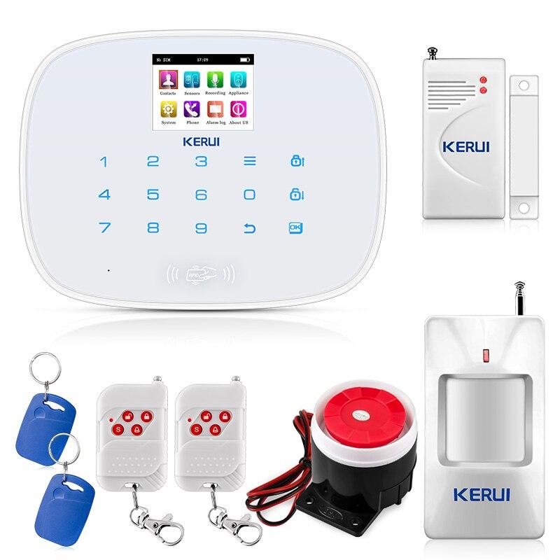 KERUI G19 GSM sans fil système d'alarme de sécurité antivol maison capteur de porte Alarme Mobile App contrôle RFID désarmer maison Alarme antivol