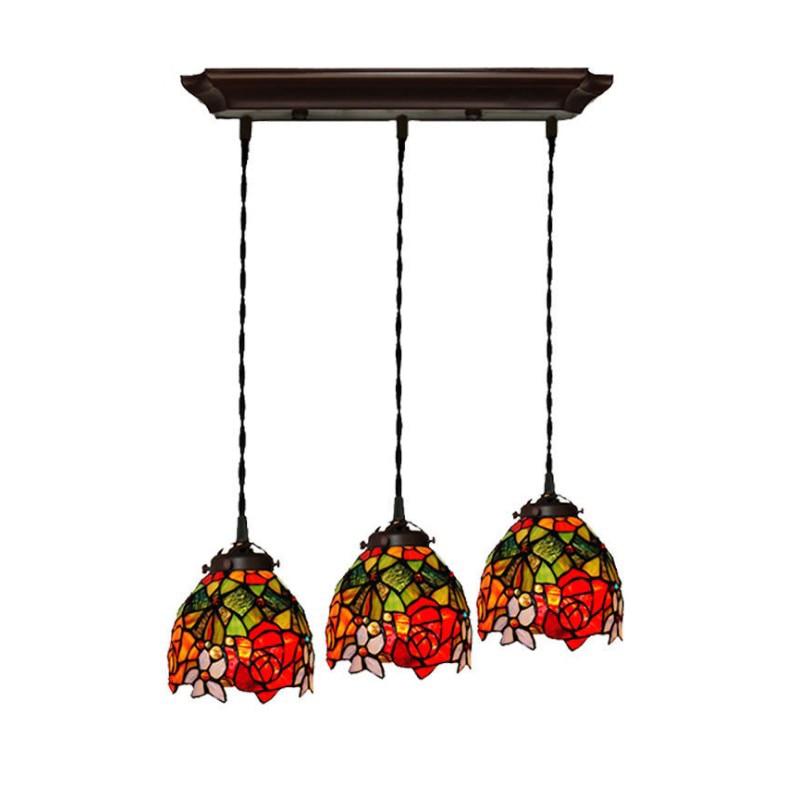 Luxury Retro Vintage Tiffanylamp Stained Glass Flower Restaurant Dining Room Chandelier Lighting Three Led E27 Lamp Holder