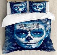 Sugar Skull Decor Duvet Cover Set Santa Muerte Concept Winter Ice Cold Snowflakes Frozen Dead Folkloric, 4 Piece Bedding Set