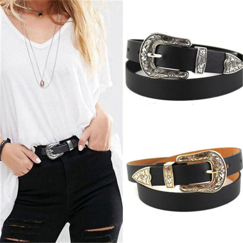 Double Buckle Belt Women Lady Fashion Vintage Metal Leather Belt 4 Patterns Available Boho Waist Belt Waistband Fashion Black