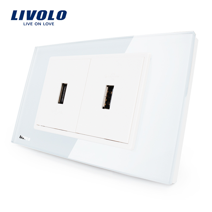 Livolo US Standard USB Socket(2.1A,5V), White/Black Crystal Glass, Wall Powerpoints Without Plug, 2Gang USB, VL-C392USB-81/82 livolo us standard 2 pins socket white crystal glass 10a ac 125 230v wall powerpoints with plug vl c3c3a 81