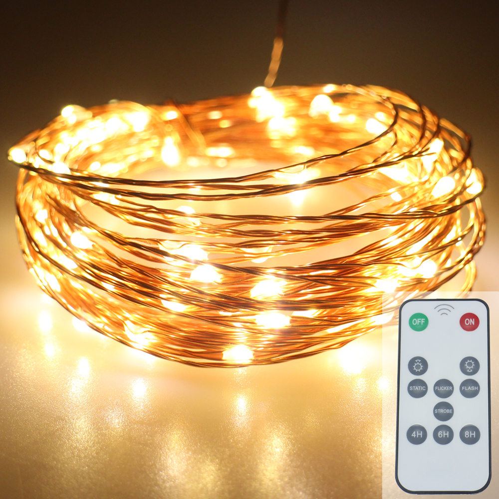 5Modes 10M 100Leds AC100 240V Copper Wire Fairy Lights LED String Starry Lights With Remote Control