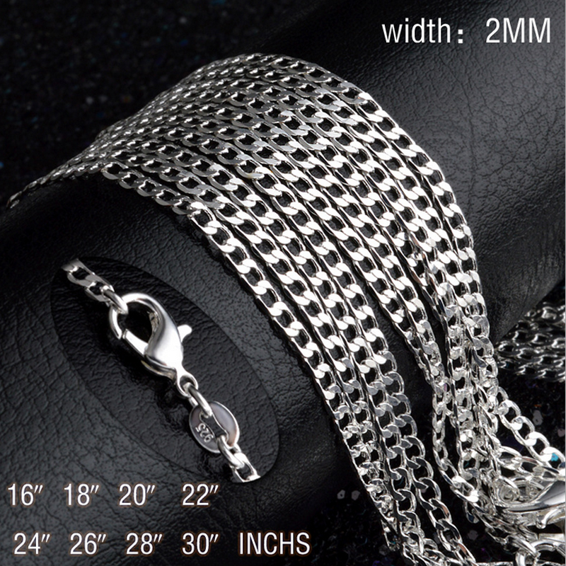 Jewelry & Accessories Necklaces & Pendants Expressive 16-30 Wholesale Price Fashion Good Silver Jewelry Women/man Design 2mm Wide Curb Chain Jewelry Necklace Ne029