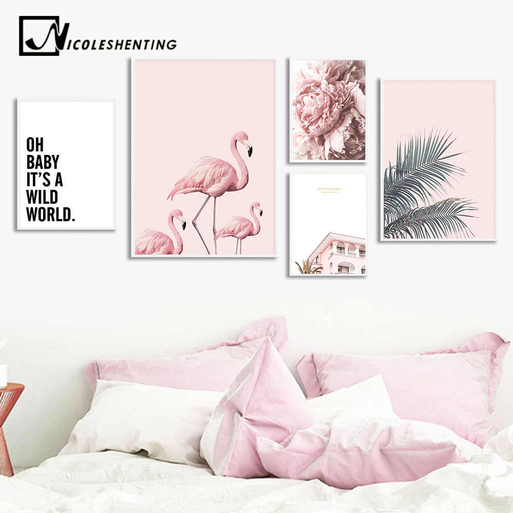Nordic Flamingo Flower Wall Art Canvas Poster Pink Minimalist Print Painting Scandinavian Decoration Picture Living Room Decor