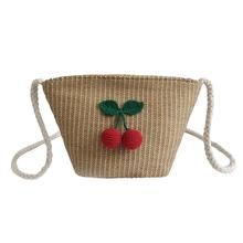 Woven Cherry Pattern Crossbody Bag Straw Braided Bags Fashionable Natural Unique Pompon Beach Single-shoulder Women