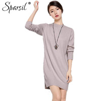 Sparsil Women Autumn O Neck Cashmere Blend Pullover Sweater Fashion Lady Long Sleeve Knitted Hem Split