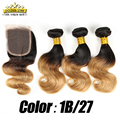 8A Ombre Brazilian Virgin Hair With Closure 3 Bundles With Closure 1B 27 30 Ombre Short Hair Brazilian Body Wave With Closure