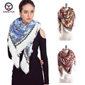 2016 hot sale fashion woman 140*140 cm Scarf imitate Cashmere colorful printing scarves Women Winter warm and soft  lady shawls