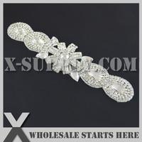 (27 cm lengte) kralen bruids strass applique patch met ijzer op backing voor sash, wedding bridal jurk decoratie, x1-rat2495