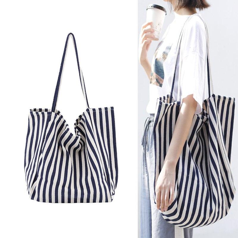 Haute qualité grande capacité sac à main rayé fourre-tout décontractés sacs décontracté femmes sacs à bandoulière femme sacs à provisions réutilisables