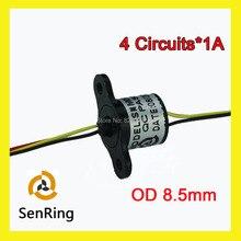 Mini rotary joint/1A cápsula anel coletor com OD 8.5mm 4 fios