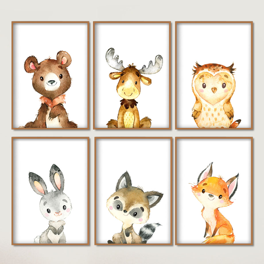 Rabbit Bear Deer Fox Owl Nursery Nordic Posters And Prints Animal Wall Art Canvas Painting Wall Picture Baby Girl Boy Room Decor
