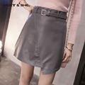 Winter Autumn Fashion Women's High Waist Bowknot PU Leather A-Line Skirt Casual Short Skirts Black Grey B6N5171Y