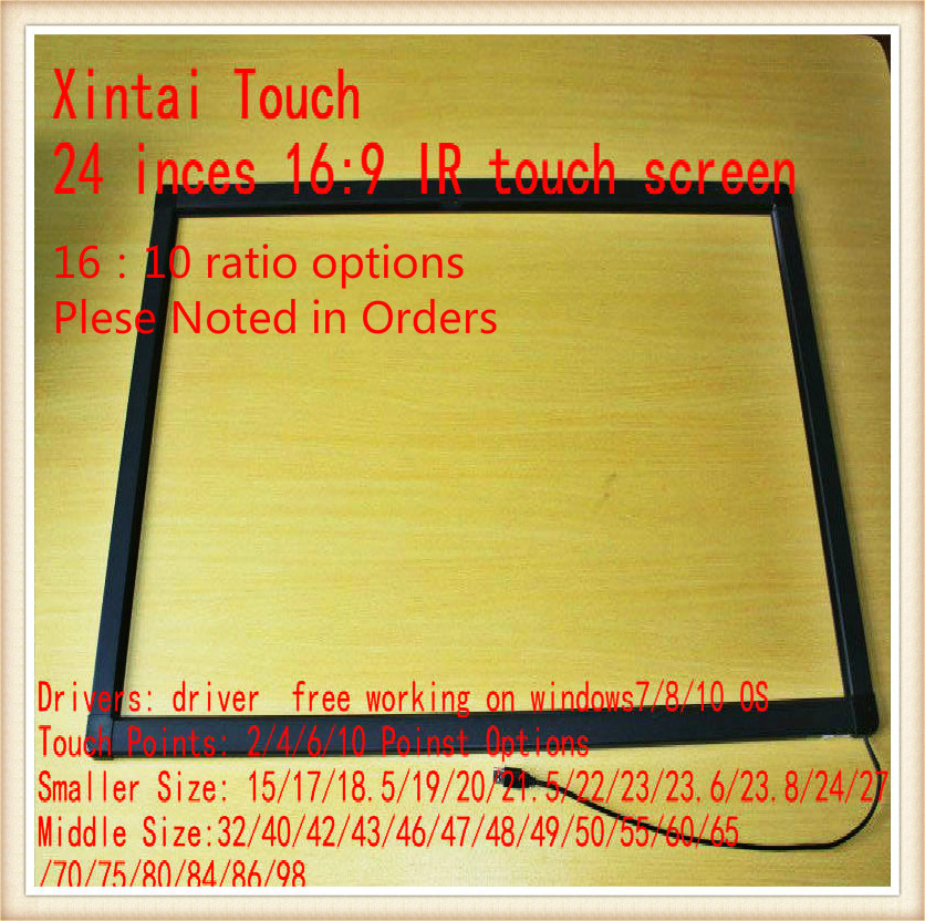 Xintai Touch 24 inch 2 points 16:9 ratio Infrared touch screen / Panel, IR touch frame, IR touch overlay kit for ATM new type 55 inch infrared ir touch screen ir touch frame overlay 2 touch points plug and works