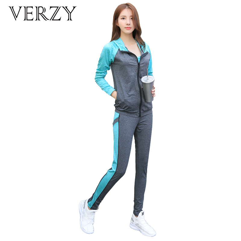 VERZY Women 4 Pieces Yoga Set Bra+T-shirt+Coat+Pants Slim Fitness Solid and Patchwork 2 Colors Outdoor Running Suit Sportswear 2018 new bright gym clothes colors solid and patchwork female summer yoga suit t shirt bra leggings 3 pieces yoga set for women