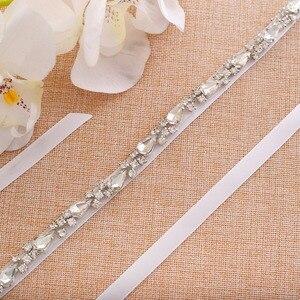 Image 3 - Pas dla nowożeńców kryształ kwiat szarfa ślubna srebrne kryształki pas ślubny skrzydła na druhny sukienki J138S