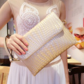 free shipping new fashion brand women's clutches ladies single shoulder bag 100% genuine cow leather famous knitting design
