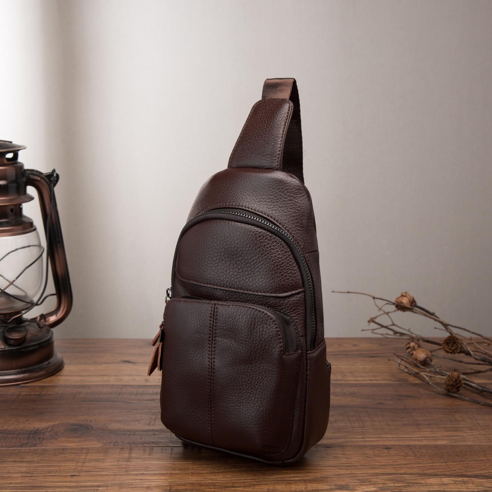 The 8135 Black Leaokuu Mens Genuine Leather Running Sport Waist Hip Bum Pack Drop Chest Bag Pouch