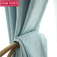 FISH TOWN Custom Made V Shape  Jacquard Weave Fabric Modern Style Solid Color Blackout Curtain For Living Room Window