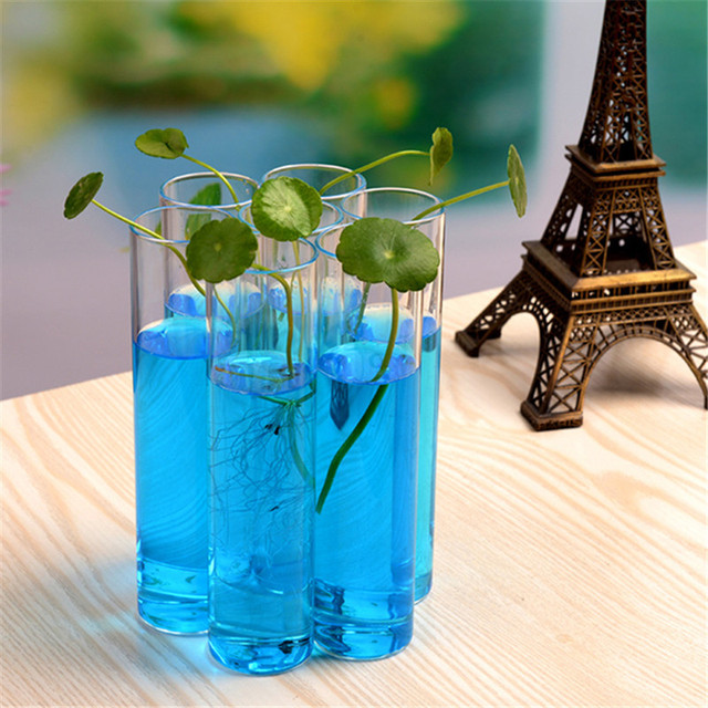 2017 New 7x Clear Cylinder Glass Vase Bottle Terrarium Hydroponic Container Plant Table Wedding Garden Decor