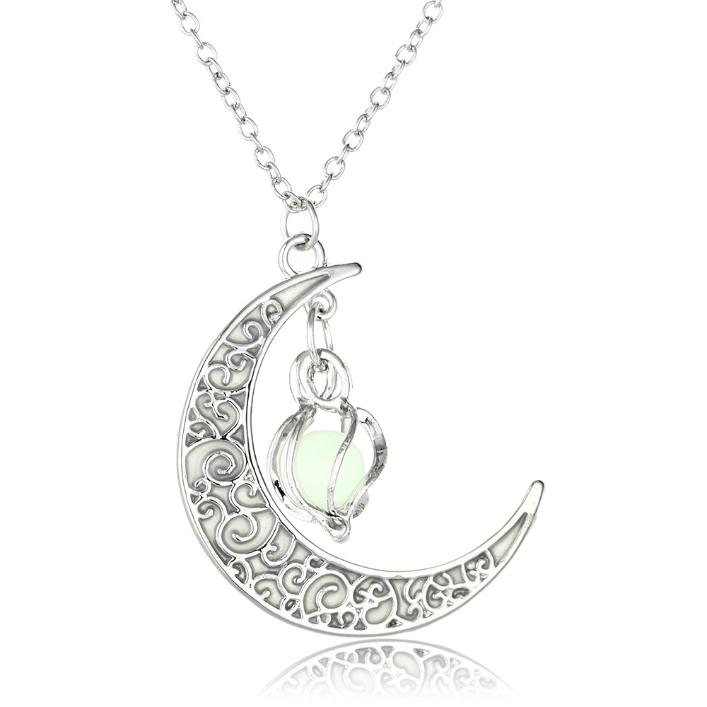 Moon Glowing Necklace Gem Charm Jewelry Silver 2