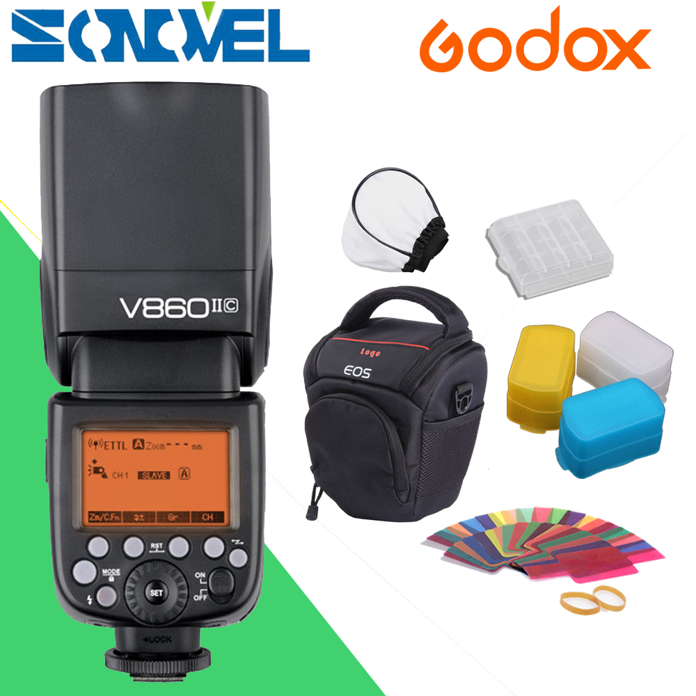 Godox Ving V860II V860II-C E-TTL HSS 1/8000 Li-ion Battery Speedlite Flash for Canon DSLR with Camera bag godox ving 2x v860n v860 i ttl hss master li ion flash speedlite ft 16s trigger speedlite 1 8000s for nikon d800 d90 d600 d7000