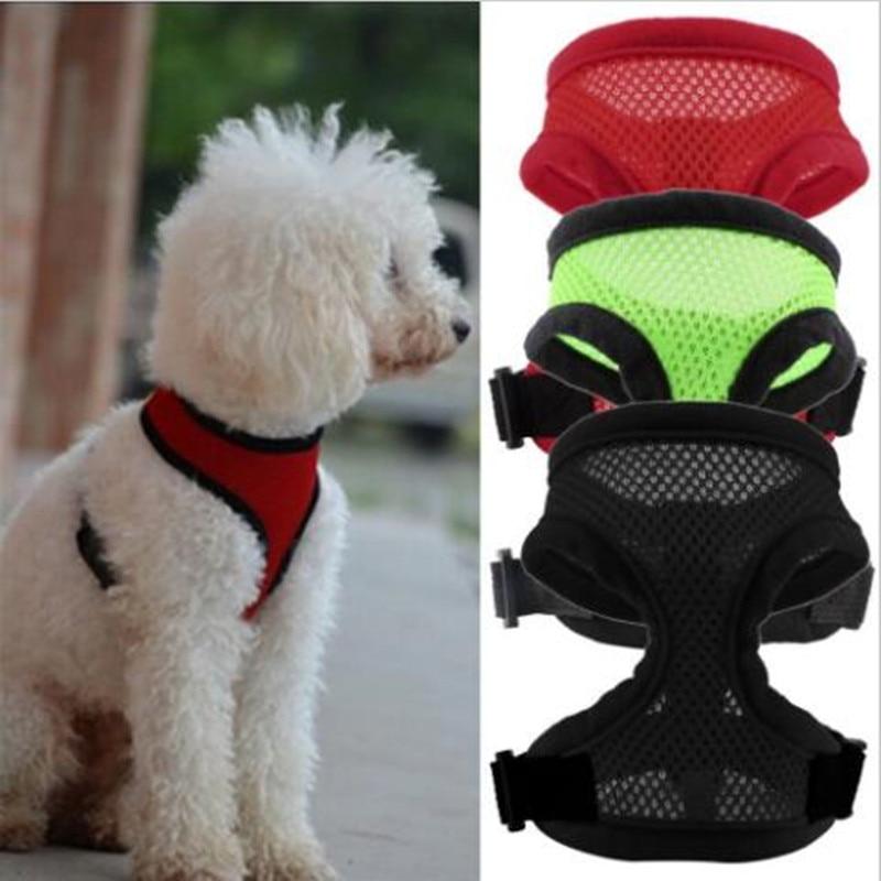Hebilla de liberación rápida Malla Arnés para perros para mascotas Cachorros Arneses para comodidad Arneses para perros Aretes en D Anillo de arnés para perros con correa de mano