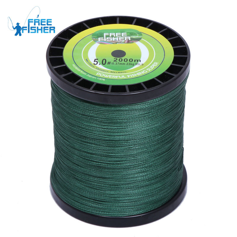 High Quality Brand 2000m Super Fishing Braid Line PE Green 20lb 30lb 40lb 50lb / 9-23Kg цена и фото