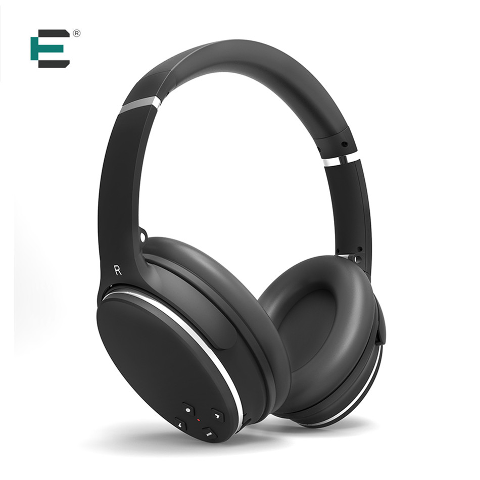 Active Noise Cancelling Bluetooth Headphones HiFi Stereo Wireless Over-ear Earphones with Mic Volume Control 3.5mm Jack