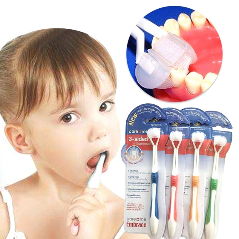 Ultrafine Soft Children Baby Toothbrush 3 Sided Toothbrush For Girls Boys Health Teeth 4 Colors