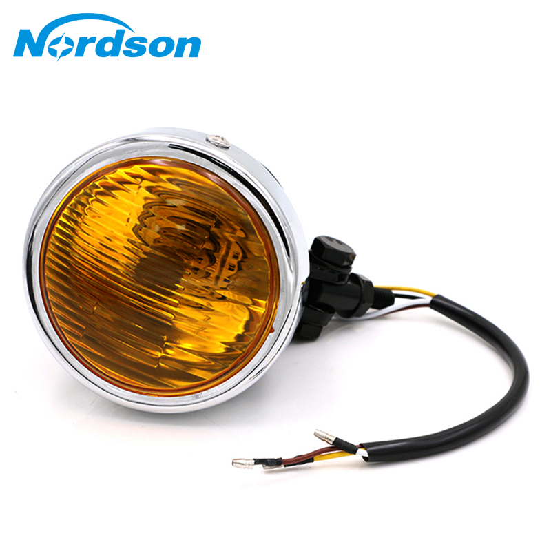 цена на Nordson Motorcycle Headlight 12V Motocross Head Light Lamp For Harley Chopper Bobber Cafe Racer