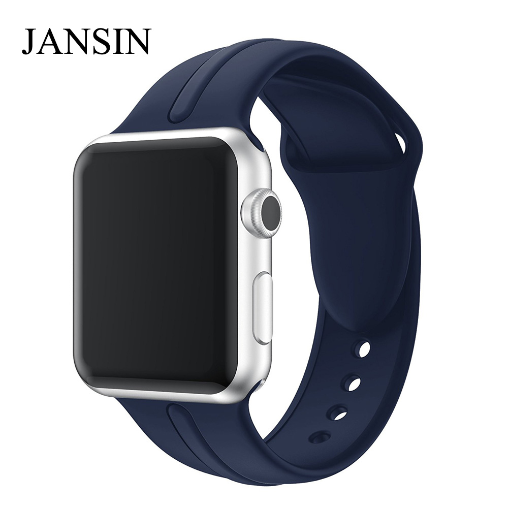 JANSIN Soft silicone Sport strap for Apple Watch band 38mm 42mm Bracelet watch band for iWatch Series 3 2 1 wristband sport silicone band strap for apple watch nike 42mm 38mm bracelet wrist band watch watchband for iwatch apple strap series 3 2 1
