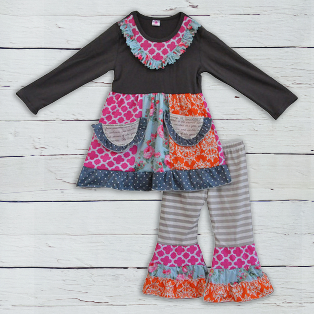 free shipping fall winter new fashion toddler girls outfit cotton children clothes baby 2 pieces clothing sets with pockets F072