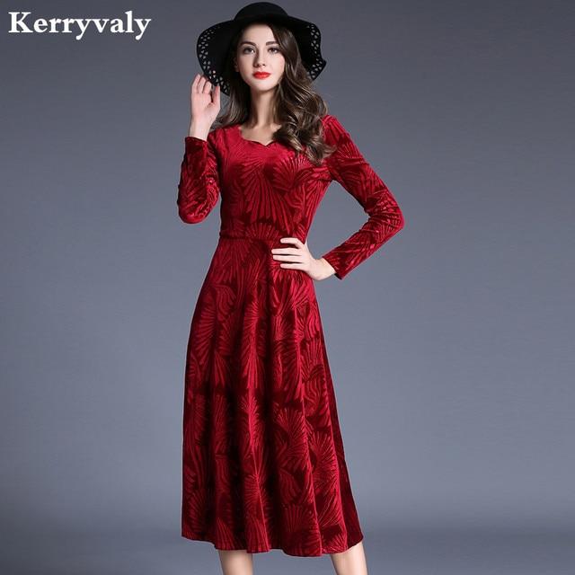 new winter red long velvet dress 2018 vestido longo long sleeve christmas dress women winter dresses - Long Christmas Dresses