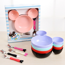 Kids Mickey Bowl Dishes Cartoon Cute Mouse Baby Children Infant Baby Rice Feeding Bowl Plastic Snack Plate Tableware