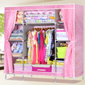 Easy folding cloth wardrobe thick reinforced steel wardrobe closet queen assembled steel lattice lockers more