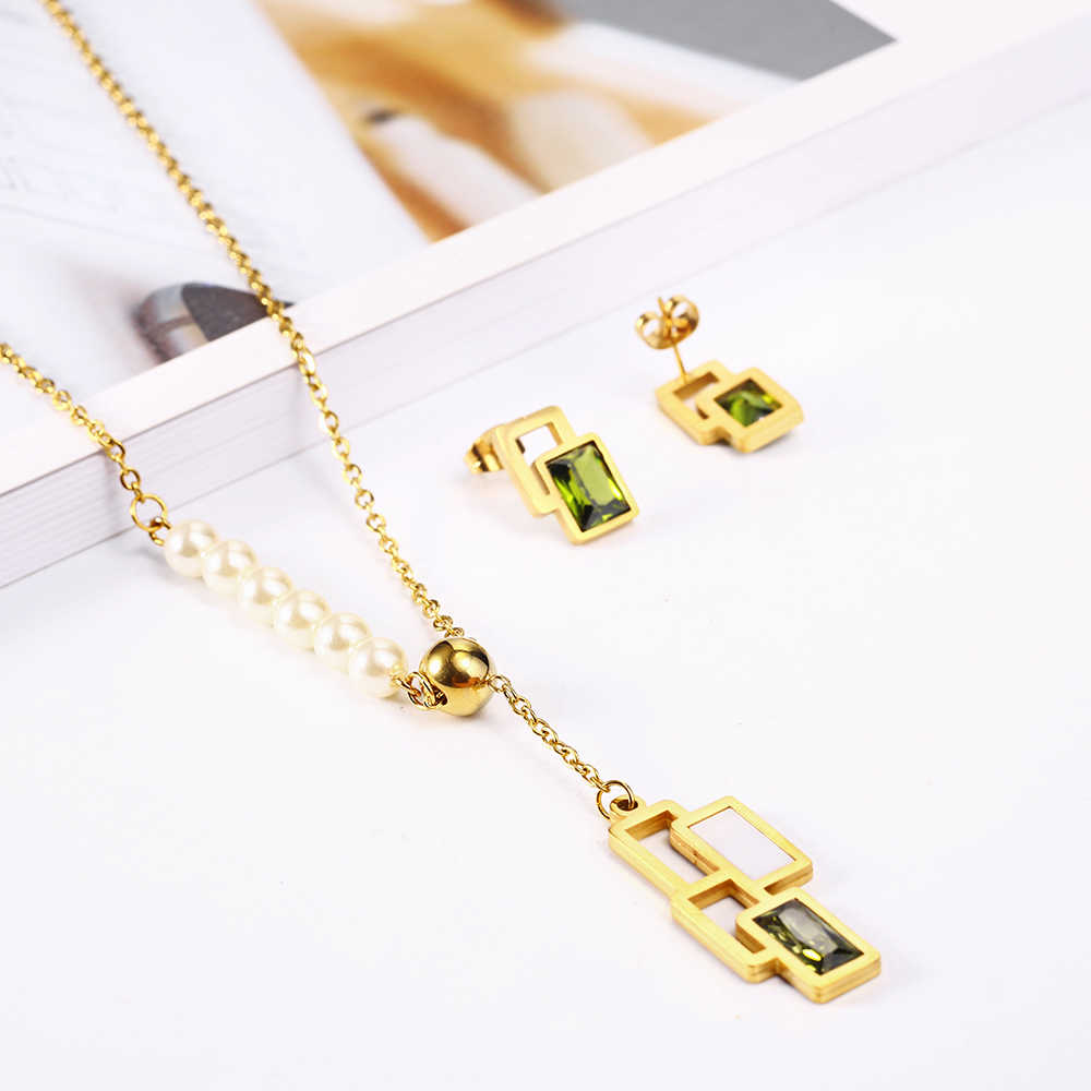 OUFEI Stainless Steel Jewelry Woman Vogue 2019 Personalized Necklace Earrings set Jewelry Accessories Jewelry Sets Mass Effect