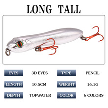 цена на 1 Pcs Snake Head Pencil Bait 8 Colors 105mm/15g Fishing lure Floating Crankbait Sea Bass Pike Topwater 3D Eyes Plastic Wobbler