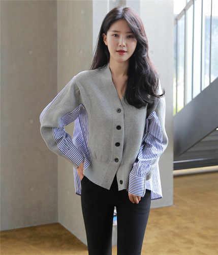 2019 Musim Gugur Satu Berkembang Biak Cardigan Sweater Lengan Panjang Disambung Mantel Korea Gaya Wanita Kardigan