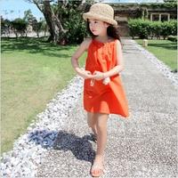 2017 Summer Children Beach Dresses Crew Collar With Button Girls Braces Dress Princess Jumper Dress Design For robe Enfant T22