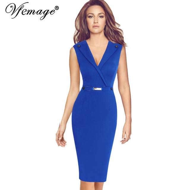 Vfemage женщин элегантный sexy v-образным вырезом кнопка винтаж дамы тонкий туника повседневная работа офис бизнес партия bodycon tuxedo dress 6782