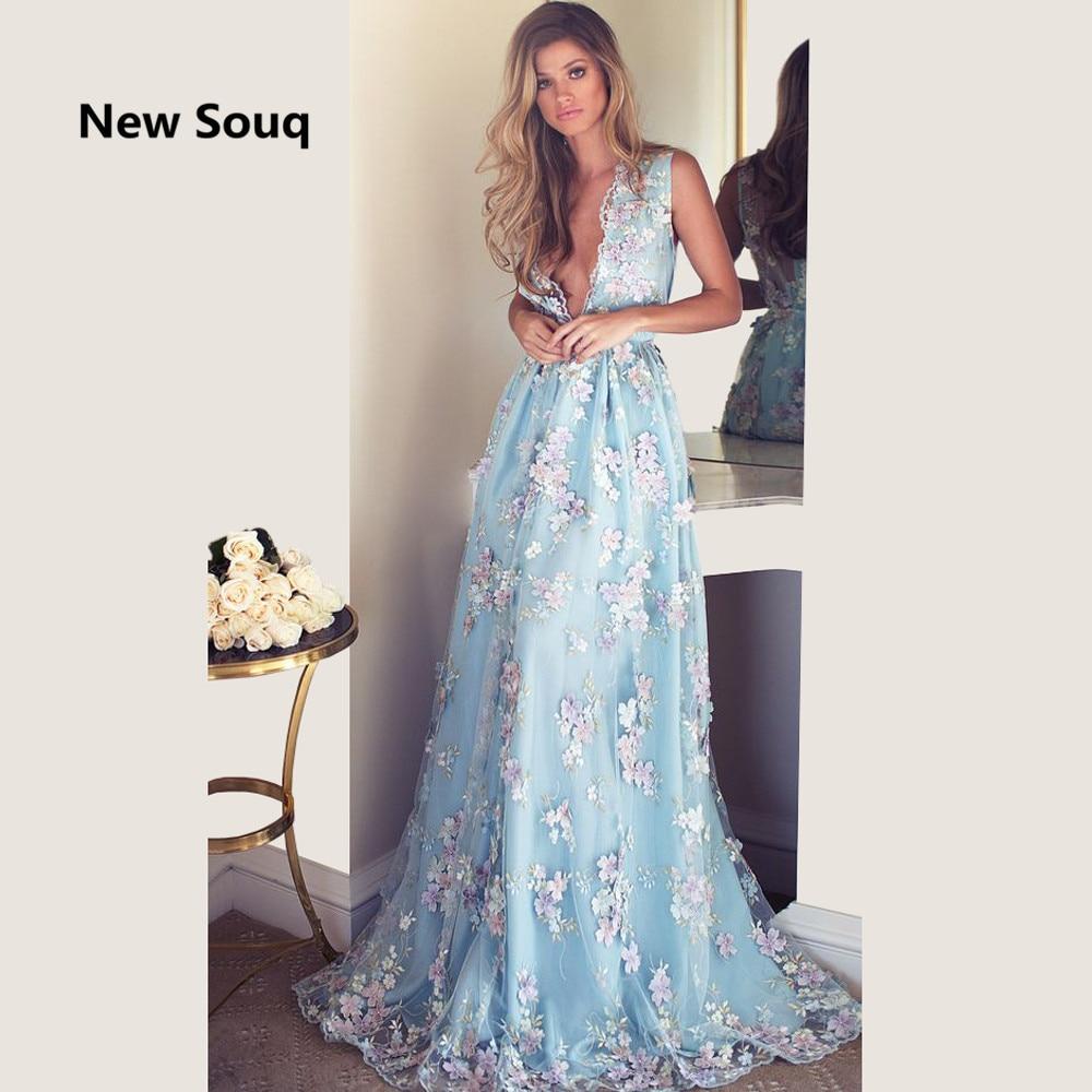 Sky Blue Floral Print Tulle Prom Dresses Deep V-neck Applique A-Line Summer Party Prom Gowns Vestido De Fiesta