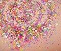 Solvente Resistente Mate NEON Colores Mezcló Hexagonal Forma de Corazón para DIY Arte de Uñas y Esmalte de Uñas de Gel y Acrílico