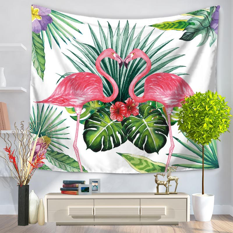 Home Decoration Flamingo Print Tapestry Tropical Leaves