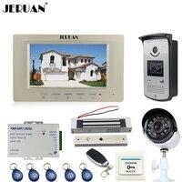 JERUAN Wired 7 Inch LCD Video Intercom Door Phone System Kit Monitor RFID Access IR Camera