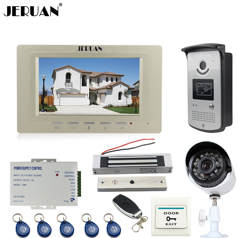 JERUAN Wired 7 inch LCD Video intercom Door Phone System kit Monitor + RFID Access IR Camera + 700TVL Analog Camera In Stock jeruan home 7 video door phone intercom system kit 1 white monitor metal 700tvl ir pinhole camera rfid access control in stock
