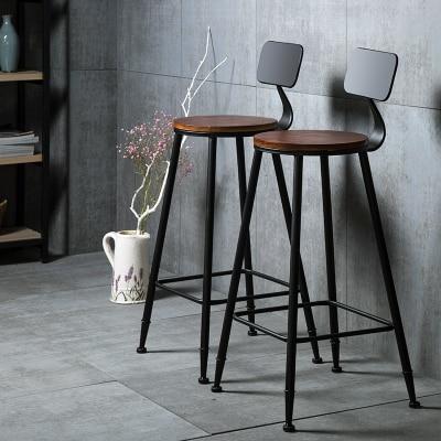 Барный стул из цельной древесины Европейский барный кованого железа современный