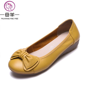 Image 2 - Plus Size(34 43) Women Shoes Genuine Leather Flat Shoes Woman Maternity Casual Work Shoes 2019 Fashion Loafers Women Flats