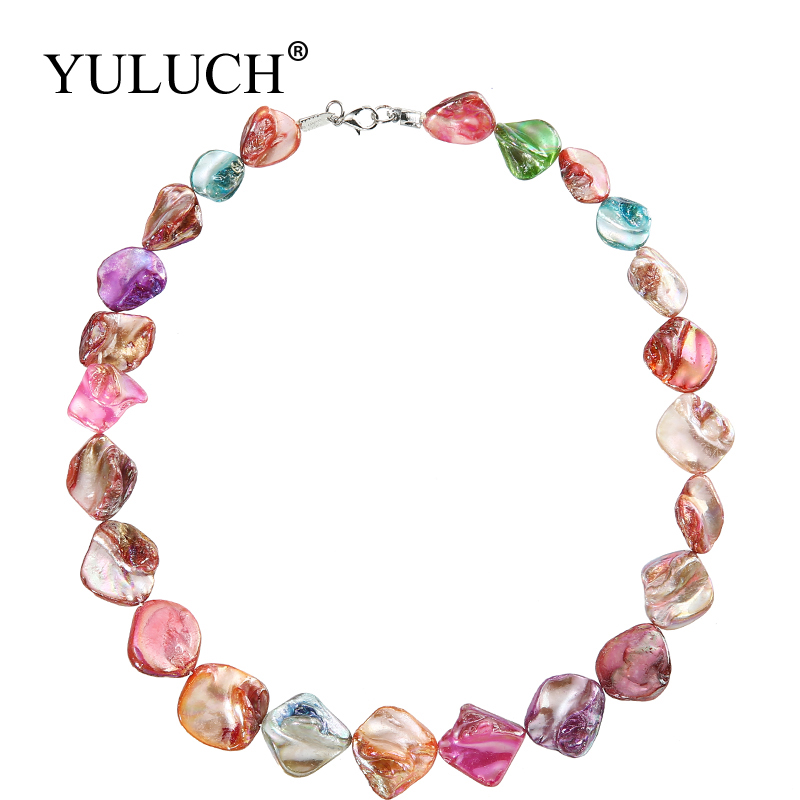 Aurora Effect Trendy Women Chain Necklaces Irregular Ocean Shell Colourful Jewelry Shining Necklace Brand Jewelry Sale YULUCH