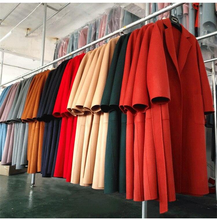 Eupope New Sided Handmade Lapel Lacing Belt Color sólido lana abrigo mujer abrigo 2017 otoño e invierno abrigo Mujer